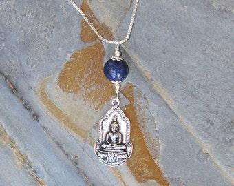 Reversible Buddha Necklace, Blue Yoga Necklace, Blue Necklace, Natural Stone Necklace, Lapis Necklace, Handmade Necklace, Spiritual Necklace