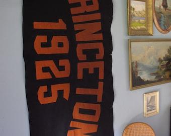 1925 Princeton University Antique Banner Large Felt Applique Wall Hanging College Memorabilia Flag