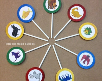 """Brown Bear and Friends Cupcake Toppers 2"""" circle Birthday Theme"""