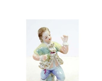 Victorian Man with a Ruffled Shirt Pastels of Blue, Green, Yellow & Blue China Gold Leaf Figurine Home and Garden Collectibles Figurines
