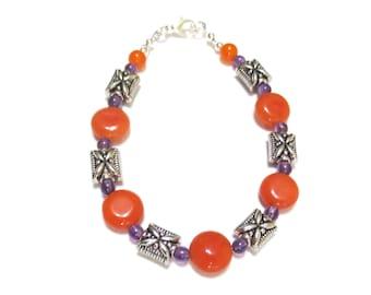 Orange and Purple Bracelet, Jasper and Amethyst, Silver Bracelet, Clemson Colors, Large Beaded Bracelet, Ornate Silver Pillow Beads