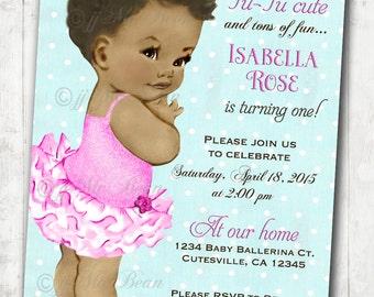 Ballerina Birthday Invitation For Girl - Ballet Party - First Birthday - African American Ballerina - DIY Printable