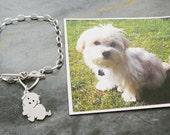Maltese Custom TaGette Bracelet .. Sterling Silver Pet Portrait Dog silhouette Jewelry Memoralize Keepsake, Mothers Day