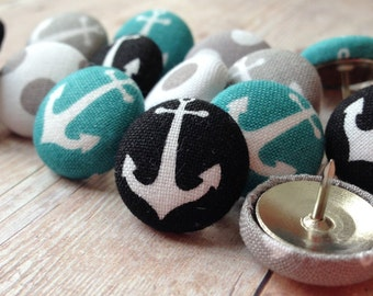 Push Pins,Pushpins,Thumbtacks,Thumb Tacks,Gray,Grey,Turquoise,Black,Anchors,Anchor,Gift,Nautical,Decorative Thumbtack,Bulletin Board,Cubicle