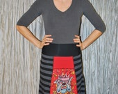 Recycled tee shirt skirt  small with rayon yoga style waistband  S0078