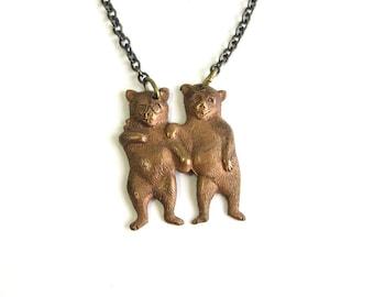 bear friends necklace . anthropomorphic animals bff necklace