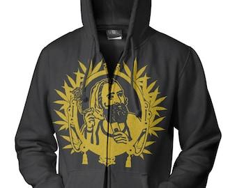 Graphic VillainZig Zag Marijuana Man Hoodie - Free Shipping!