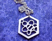 Small Worker Bee in Honeycomb - Necklace Pendant or Keychain