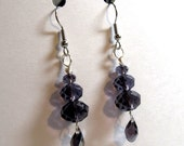 Faceted Purple Tiers Earrings with Faceted Purple Tear Drop