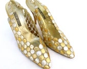 Vintage Gold Silver Glam Pumps 1980 80s Designer Shoes Heels Bling Sparkle Party Festive SZ 8.5