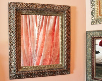 Antique Gilt Gesso and Velvet Frame With Mirror