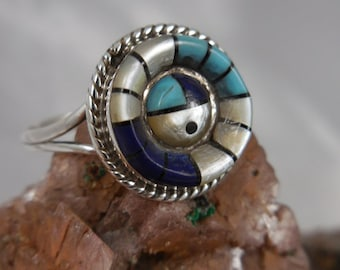 Turquoise Lapis Mother of Pearl Sterling Ring