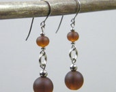 OUT OF TOWN - Chocolate Drop Earrings - Matte Brown Sea Glass Silver tone Metal Dangle Earrings - Simple Casual Classic Neutral