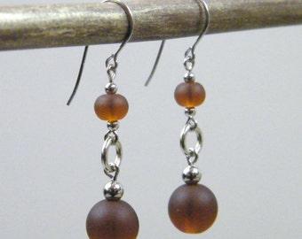 Chocolate Drop Earrings - Matte Brown Sea Glass Silver Metal Dangle Earrings - Small Simple Casual Classic Neutral