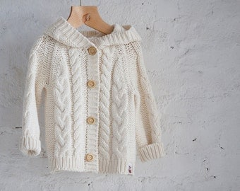 Cable Knit Hoodie Jacket Natural white sweater Coat Kids Chunky Cable cardigan