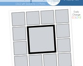 12 x 12 Storyboard with 13 Square Openings - Photographer Photoshop Template