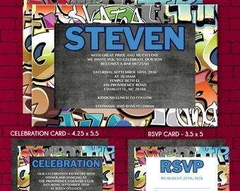 Graffiti Theme Bar Mitzvah Invitation, RSVP, Thank You Card