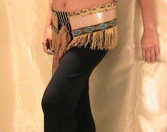SALE!!! Belly dance Hip belt, hip scarf with gold sequins, gold silk fringe and glass bead accents MED, L, XL