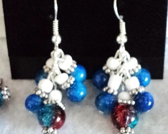 Dangle Earrings, 4th of July Earrings, Fireworks Earrings, Red White and Blue Earrings, Patriotic Earrings - 4TH OF JULY