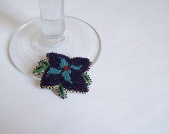 Antique Native American seed bead pin brooch Ojibwe Ojibwa Chippewa 14/0 beads on leather Free shipping to USA