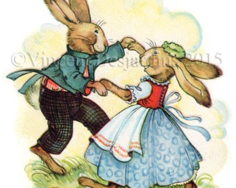 Instant Download Dancing Rabbits Vintage Easter Card Reproduction Print it Yourself