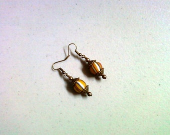 Yellow Striped Ethnic Earrings (1897)