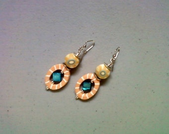 Peach, Teal Blue and Ivory Earrings (1385)