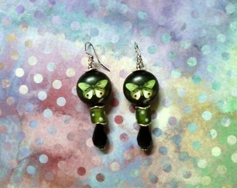 Green, Black and White Butterfly Earrings (2031)