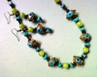 Mocha, Turquoise, Burgundy and Lime Green Evil Eye Necklace and Earrings (1281)