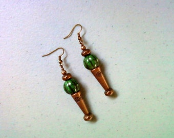 Forest Green and Copper Earrings (1470)