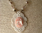 Peaches & Lace Butterfly Cameo Necklace