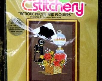 "Stitchery Kit - ""Antique Phone and Flowers"" - by Terrece Woodruff - Jiffy Stitchery - embroidery - needlework"
