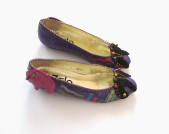 6 - rounded toe purple leather vintage 80s 1980s new wave abstract avant garde ballet flats shoes women - hipster