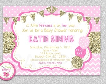Pink and Gold Baby Shower Invitation , Chevron Baby Girl Shower Invitation , Baby Shower Invitation, Pink and Orange