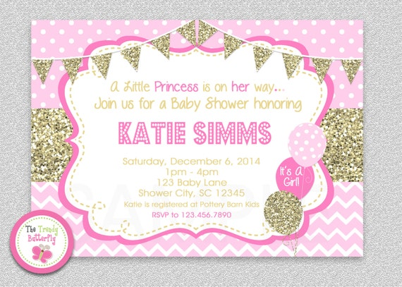 Well-liked Pink and Gold Baby Shower Invitation , Chevron Baby Girl Shower  UV64