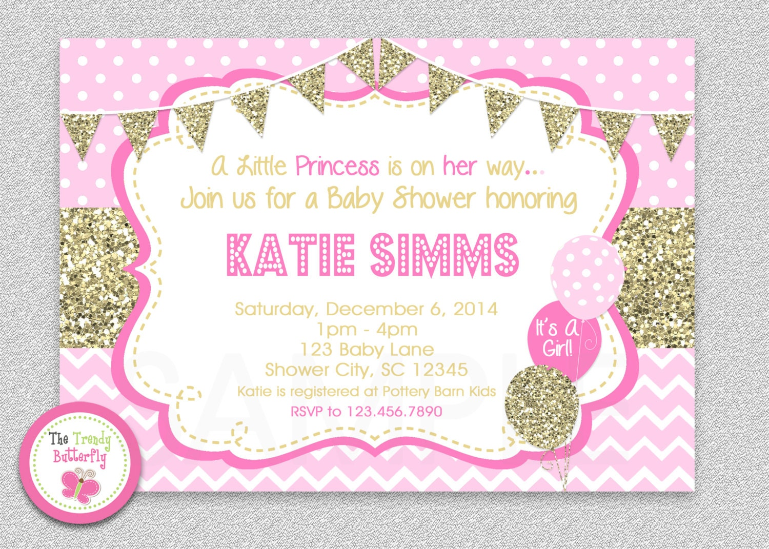 pink and gold baby shower invitation chevron baby girl