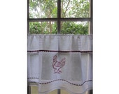 White Cafe Curtain, French Linen Window Curtain, Red Rooster, Farmhouse Kitchen, Country Decor, Thanksgiving
