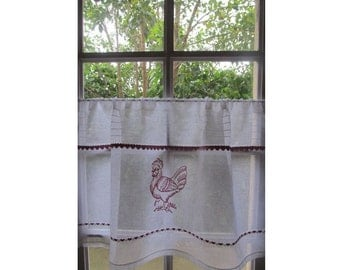 Country Curtains country curtains warrington : Italian Cafe Curtain Custom White Linen Embroidered Lace