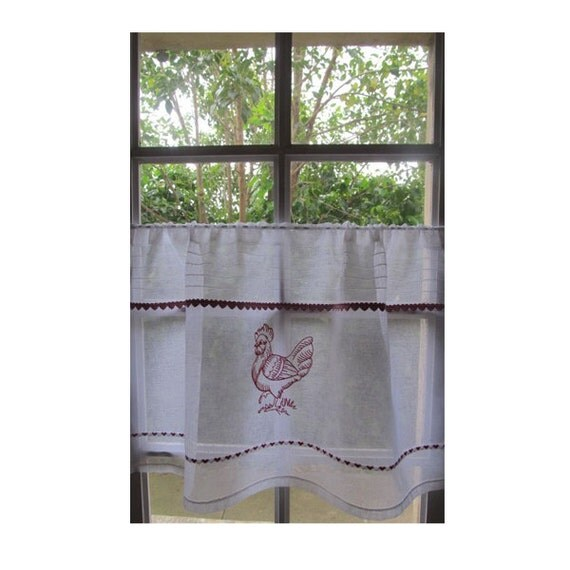Rooster Cafe Curtain, Kitchen Window Curtain, White Linen Embroidered ...