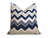 Decorative Ikat Chevron Pillow Cover- Navy Blue - 18 inch - Ikat Pillow - Linen Pillow - Toss - Flamestitch Pillow - Throw Pillow - Zig Zag