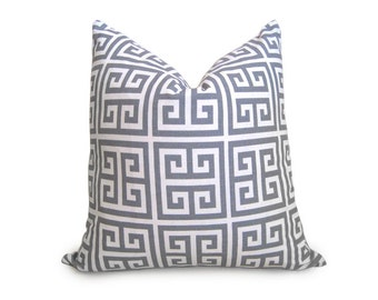 Designer Decorative Greek Key Pillow Cover - Squares - Gray - Ivory - 18 inch - BOTH SIDES - Decorative Pillow - Throw Pillow - Gray Pillow