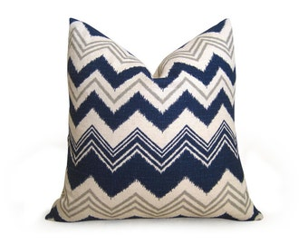 Ikat Chevron Pillow Cover- Navy Blue - 18 inch - Ikat Pillow - Linen Pillow - Toss - Flamestitch Pillow - Throw Pillow - Zig Zag -Decorative