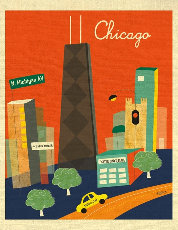 Chicago Print Skyline Art, Chicago map, Chicago wall art, Chicago Travel Poster, Chicago Baby Art, Loose Petals City Print - style E8-O-BCH1