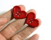 Red Heart Button Earrings - Clip on Earrings - Repurposed Button Jewelry