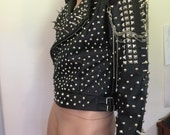 Black Spike Biker Jacket Vegan Leather With Extra Spikes Punk Goth Gothic