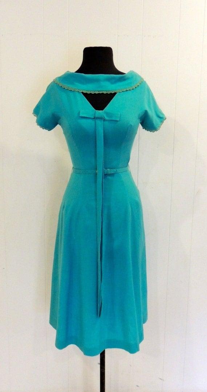 Vintage Aqua Keyhole Dress 1950s Linen Bow Front Dress