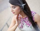 Bridal veil, Bandeau birdcage veil, Blusher birdcage veil with detachable crystal hair clip, Bridal blusher veil