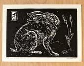 Desert Hare and California Poppy - Handmade Linocut Print