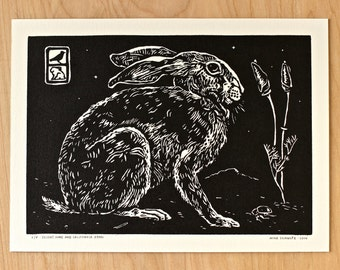 Desert Hare and California Poppy - Handmade Linocut Print