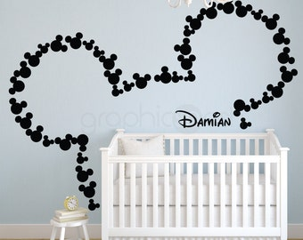 Wall decals MICKEY MOUSE inspired ears & Personalized Baby Surface graphics by Decals Murals